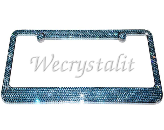 Aquamarine Sea Green Crystal Sparkle Auto Bling Rhinestone License Plate Frame with Swarovski Elements Made by WeCrystalIt