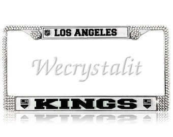 KINGS License Crystal Los Angeles Sport Silver Frame Sparkle Auto Bling Rhinestone Plate Frame with Swarovski Elements Made by WeCrystalIt