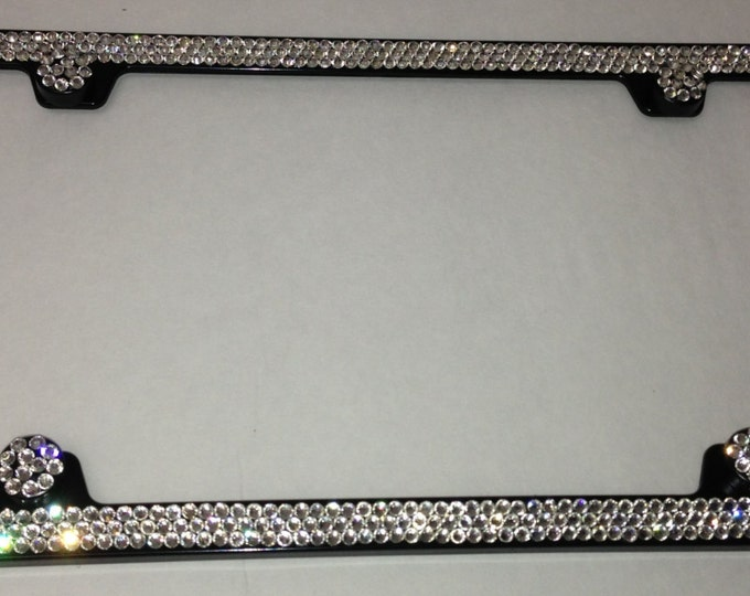 Clear Diamond on Black Frame 3 Row Crystal Sparkle Auto Bling Rhinestone  License Plate Frame with Swarovski Elements Made by WeCrystalIt
