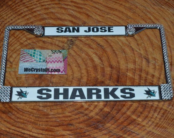 San Jose Sharks License Crystal Sport Silver Frame Sparkle Auto Bling Rhinestone Plate Frame with Swarovski Elements Made by WeCrystal