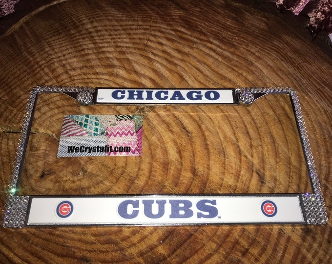 CUBS License Crystal Chicago Sport Silver Frame Sparkle Auto Bling Rhinestone Plate Frame with Swarovski Elements Made by WeCrystalIt