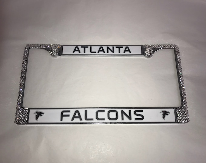 Atlanta Falcons License Crystal Sport Silver Frame Sparkle Auto Bling Rhinestone Plate Frame with Swarovski Elements Made by WeCrystalt
