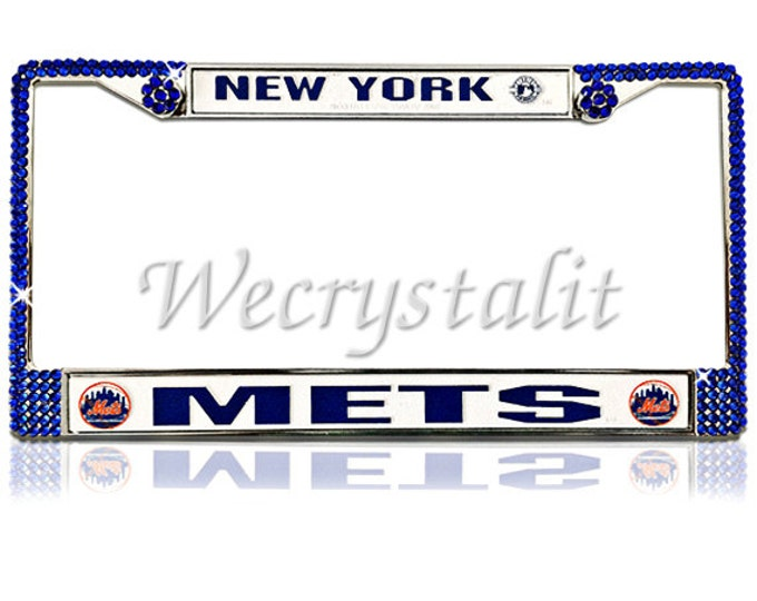 Mets License Crystal New York Sport on Silver Frame Sparkle Auto Bling Rhinestone Plate Frame with Swarovski Element made by WeCrystalIt