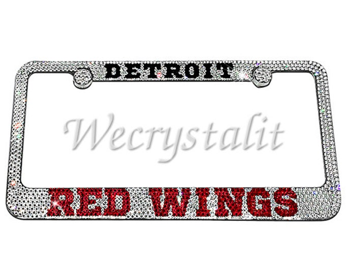 Detroit RED WINGS Crystal Sparkle Auto Bling Rhinestone  License Plate Frame with Swarovski Elements Made by WeCrystalIt