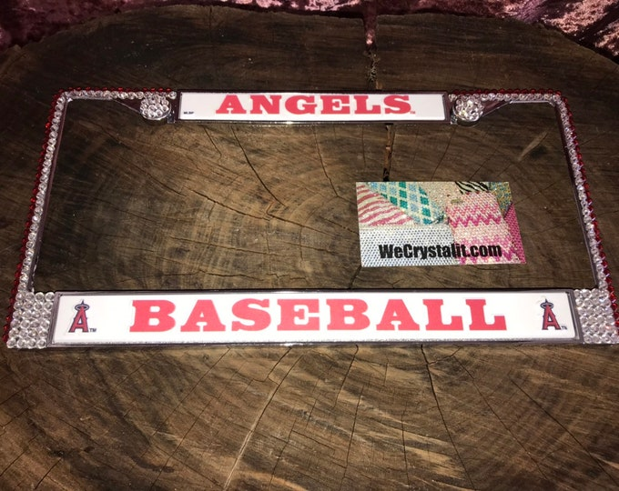 Angels License Crystal Baseball Sport on Silver Frame Sparkle Auto Bling Rhinestone  Plate Frame with Swarovski Elements Made by WeCrystalIt