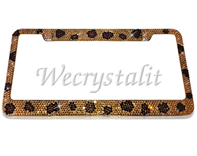 Leopard Crystal Sparkle Auto Bling Rhinestone  License Plate Frame with Swarovski Elements Made by WeCrystalIt