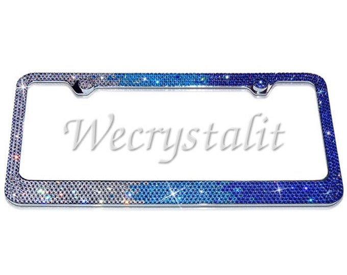 3 Color Fade Sparkle Auto Bling Rhinestone  License Plate Frame with Swarovski Elements Made by WeCrystalIt
