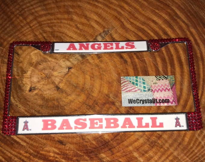 Angels Anaheim  Los Angeles License Baseball Sport Frame Sparkle Auto Bling Rhinestone Plate Frame with Swarovski Elements by WeCrysta