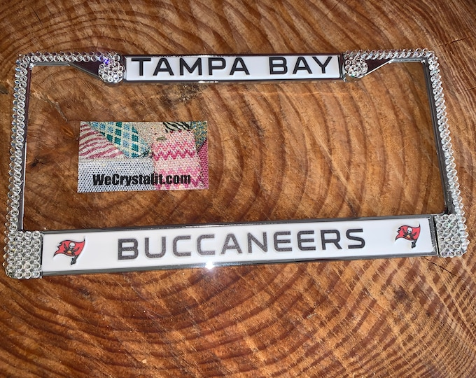 Tampa Bay Buccaneers License Crystal Sport Silver Frame Sparkle Auto Bling Rhinestone Plate Frame with Swarovski Elements Made by WeCrystali