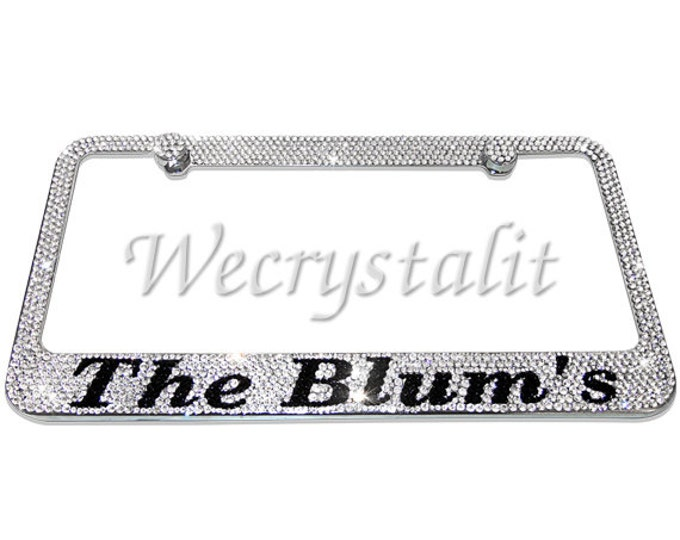 Last Name on Silver Swarovski Crystal Sparkle Auto Bling Rhinestone License Plate Frame Made with Swarovski Elements Made by WeCrystalIt