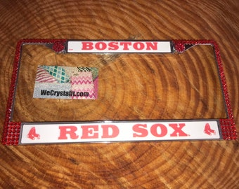 Red Sox License Red Crystal Boston Baseball Frame Sparkle Auto Bling Rhinestone Plate Frame with Swarovski Elements Made by WeCrystalIt