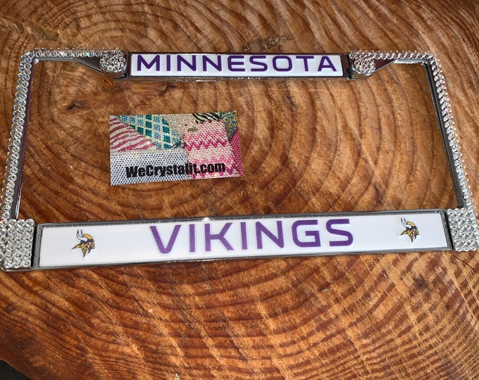 Minnesota Vikings License Crystal Sport Silver Frame Sparkle Auto Bling Rhinestone Plate Frame with Swarovski Elements Made by WeCrystalit