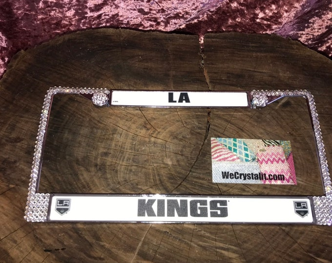 LA Kings License Crystal Sport Silver Frame Sparkle Auto Bling Rhinestone Plate Frame with Swarovski Elements Made by WeCrystalit