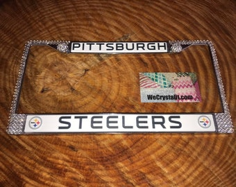 Pittsburgh Steelers Football License Crystal Sport on Silver Frame Sparkle Auto Bling Rhinestone Plate Frame with Swarovski Element