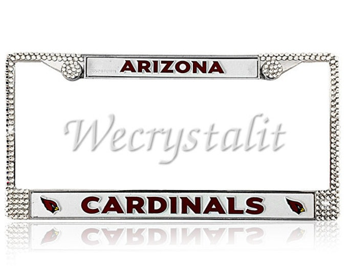 CARDINALS License Crystal Arizona  Sport Silver Frame Sparkle Auto Bling Rhinestone Plate Frame with Swarovski Elements Made by WeCrystalIt