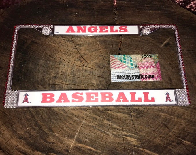 Angels Baseball Sport on Silver Frame Crystal Sparkle Auto Bling Rhinestone License Plate Frame with Swarovski Element by WeCrystalIt