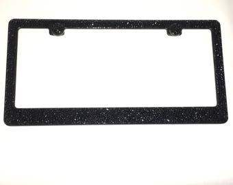 Jet Black Crystls on Black Frame Crystal Sparkle Auto Bling Rhinestone License Plate Frame with Swarovski Elements Made by WeCrystalIt