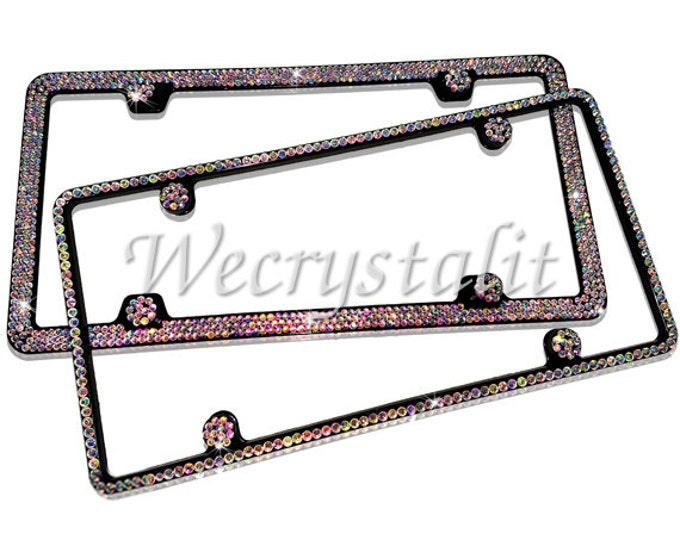 Set 2 AB on Black Frame 1 & 3 Row Crystal Sparkle Auto Bling Rhinestone License Plate Frame with Swarovski Elements Made by WeCrystalIt