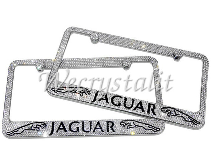 Set 2 Jaguar Swarovski Crystal Sparkle Auto Bling Rhinestone License Plate Frame Made with Swarovski Elements Made by WeCrystalIt