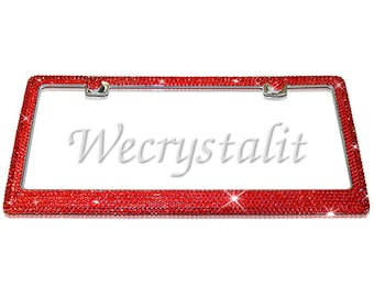 lt Siam Red 16ss Diamond on Silver Frame Crystal Auto Bling Rhinestone  License Plate Frame with Swarovski Elements Made by WeCrystalIt