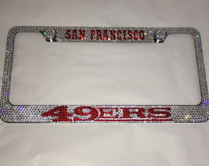 San francisco 49ers Crystal Sparkle Auto Bling Rhinestone  License Plate Frame with Swarovski Elements Made by WeCrystalIt