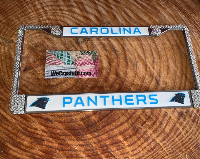 Carolina Panthers License Crystal Sport Silver Frame Sparkle Auto Bling Rhinestone Plate Frame with Swarovski Elements Made by WeCrys