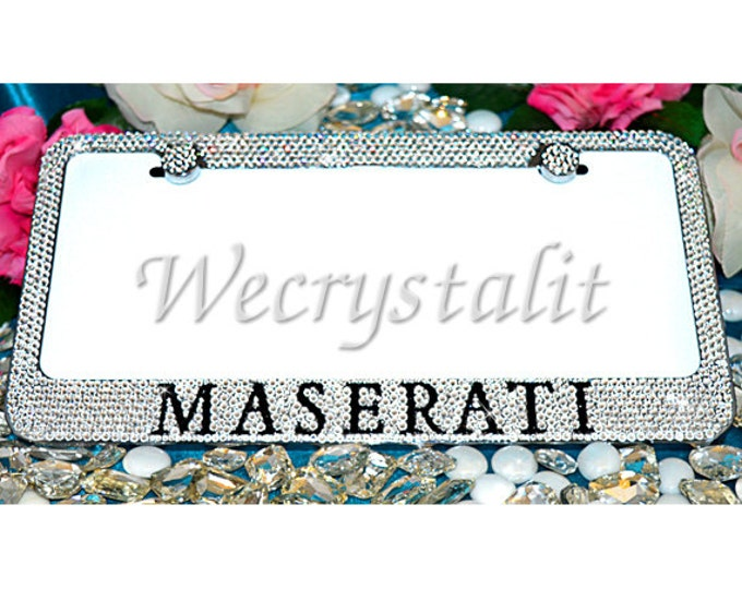 Maserati Crystal Sparkle Auto Bling Rhinestone  License Plate Frame with Swarovski Elements Made by WeCrystalIt