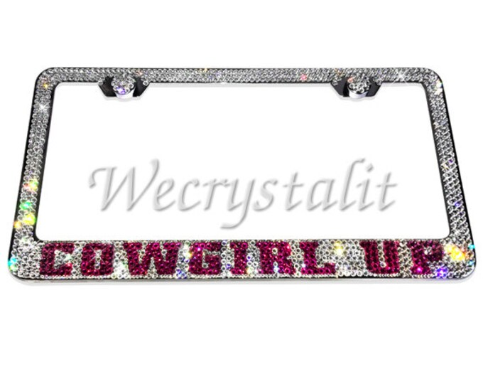 COWGIRL pride Fuschia pink Crystal Sparkle Auto Bling Rhinestone License Plate Frame with Swarovski Elements Made by WeCrystalIt