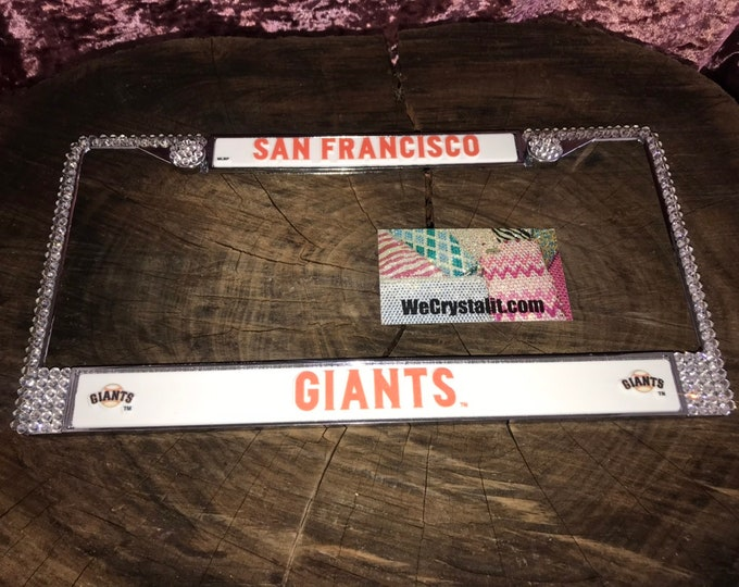 Giants License Crystal Sport on Silver Frame Sparkle Auto Bling Rhinestone Plate Frame with Swarovski Elements Made by WeCrystalIt