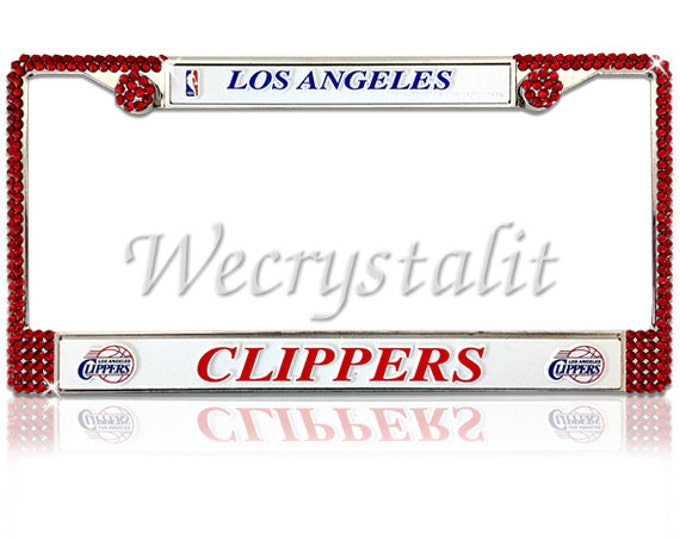 Clippers License Crystal Sport on Silver Frame Sparkle Auto Bling Rhinestone License Plate Frame with Swarovski Elements Made by WeCrystalIt