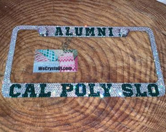 Cal Poly Slo Alumni Crystal Sparkle Auto Bling Rhinestone  License Plate Frame with Swarovski Elements Made by WeCrystalIt