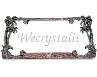 AB Color Palm Tree Crystal Sparkle Auto Bling Rhinestone  License Plate Frame with Swarovski Elements Made by WeCrystalIt