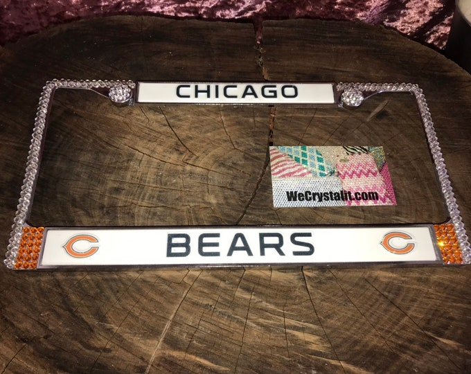 Chicago Bears License Crystal Sport Silver Frame Sparkle Auto Bling Rhinestone Plate Frame with Swarovski Elements Made by WeCrystal