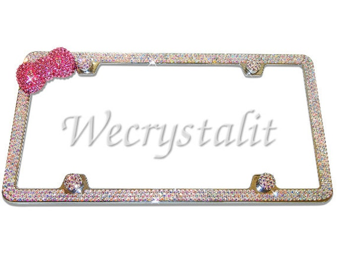 Bow with 3 Row AB color effect Crystal Sparkle Auto Bling Rhinestone  License Plate Frame with Swarovski Elements Made by WeCrystalIt