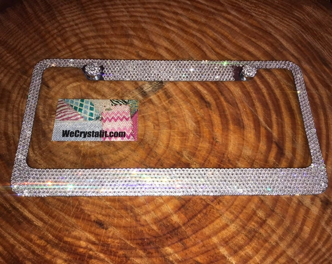 Clear 8 Row Swarovski Crystal Sparkle Auto Bling Rhinestone License Plate Frame Made with Swarovski Elements Made by WeCrystalIt