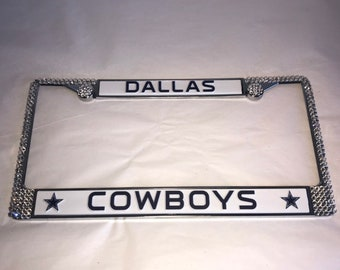 Dallas Cowboys Football License Crystal Sport Silver Frame Sparkle Auto  Bling Rhinestone Plate Frame with Swarovski Elements WeCrystalit 11eb63b7c