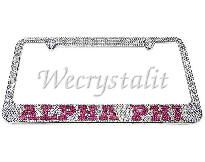 ALPHA PHI Crystal Sparkle Auto Bling Rhinestone  License Plate Frame with Swarovski Elements Made by WeCrystalIt