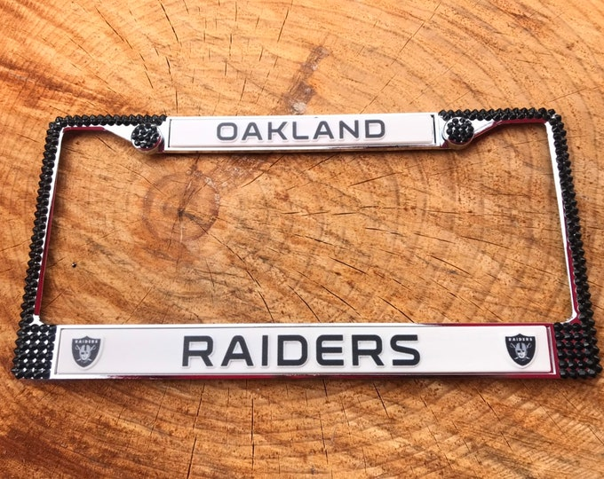 Oakland Raiders License Jet Black Crystal Sport Silver Frame Sparkle Auto Bling Rhinestone Plate Frame with Swarovski Elements Made by WeCry