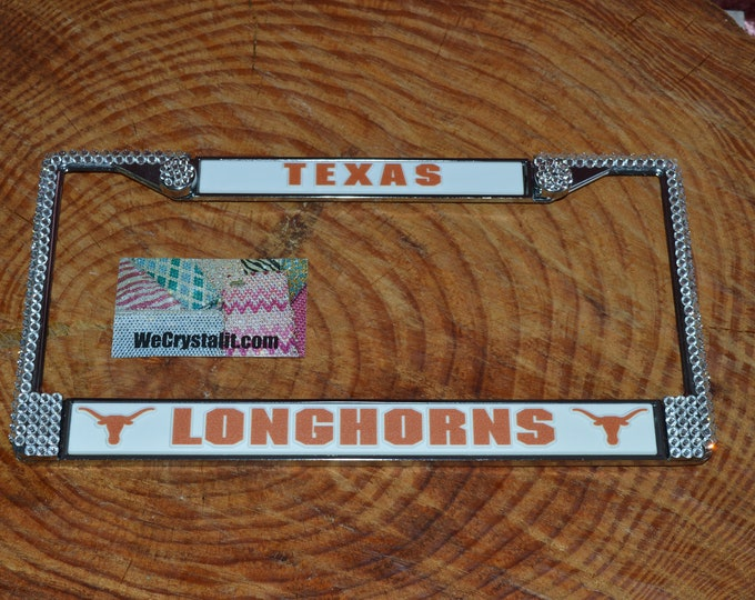 Longhorns Texas Football License Crystal Frame Sparkle Auto Bling Rhinestone Plate Frame with Swarovski Elements Made by WeCrystalIt