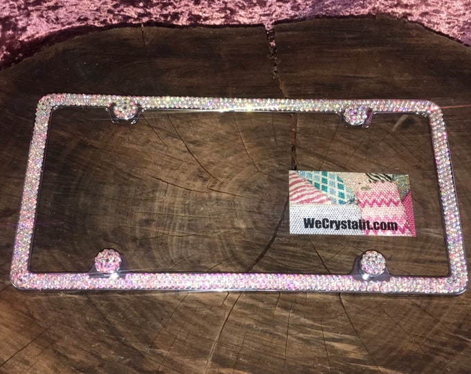 AB Aurore Boreale color effect Crystal Sparkle Auto Bling Rhinestone  License Plate Frame with Swarovski Elements Made by WeCrystalIt