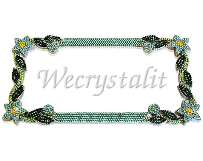 Blue Daisy Flower Crystal Sparkle Auto Bling Rhinestone  License Plate Frame with Swarovski Elements Made by WeCrystalIt