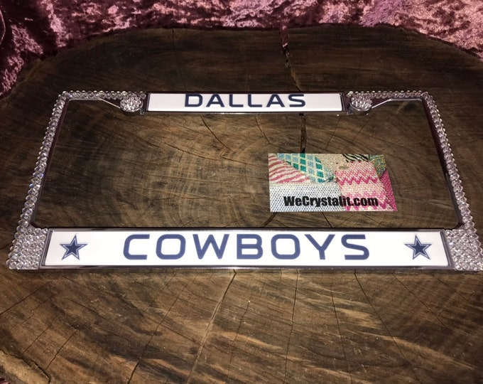 Dallas Cowboys Football License Crystal Sport Silver Frame Sparkle Auto Bling Rhinestone Plate Frame with Swarovski Elements WeCrystalit