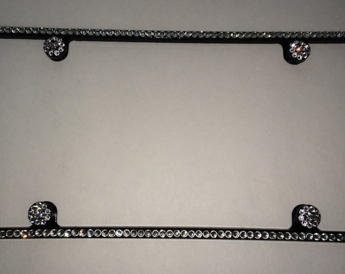 1 row Clear on silver Frame 1 Row Crystal Sparkle Auto Bling Rhinestone License Plate Frame with Swarovski Elements Made by WeCrystalIt