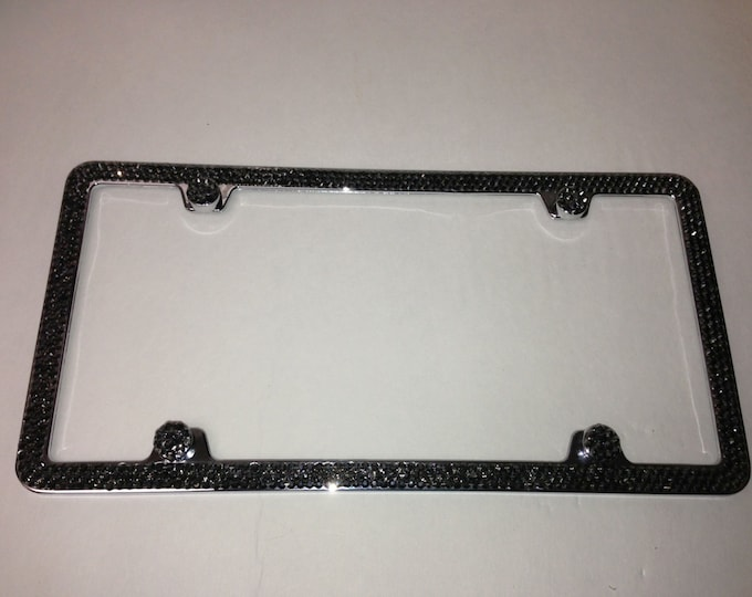 Black Diamond  on Silver Frame 3 Row Crystal Sparkle Auto Bling Rhinestone  License Plate Frame with Swarovski Elements Made by WeCrystalIt