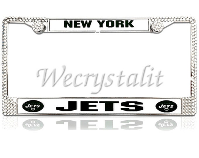 Jets License Crystal New York Football Frame Sparkle Auto Bling Rhinestone License Plate Frame with Swarovski Elements Made by WeCrystalIt
