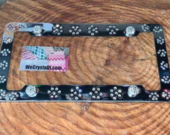 Dog Puppy Paws Crystal Sparkle Auto Bling Rhinestone License Plate Frame with Swarovski Elements Made by WeCrystalIt