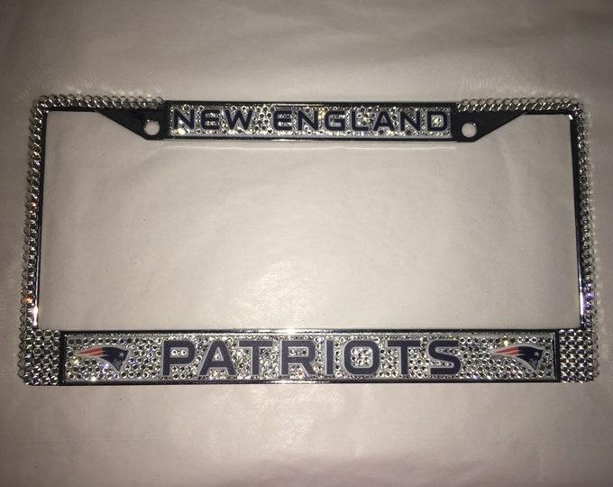 New England Patriots Full License Crystal Sport Frame Sparkle Auto Bling Rhinestone  Plate Frame Swarovski Elements Made by WeCrystalIt