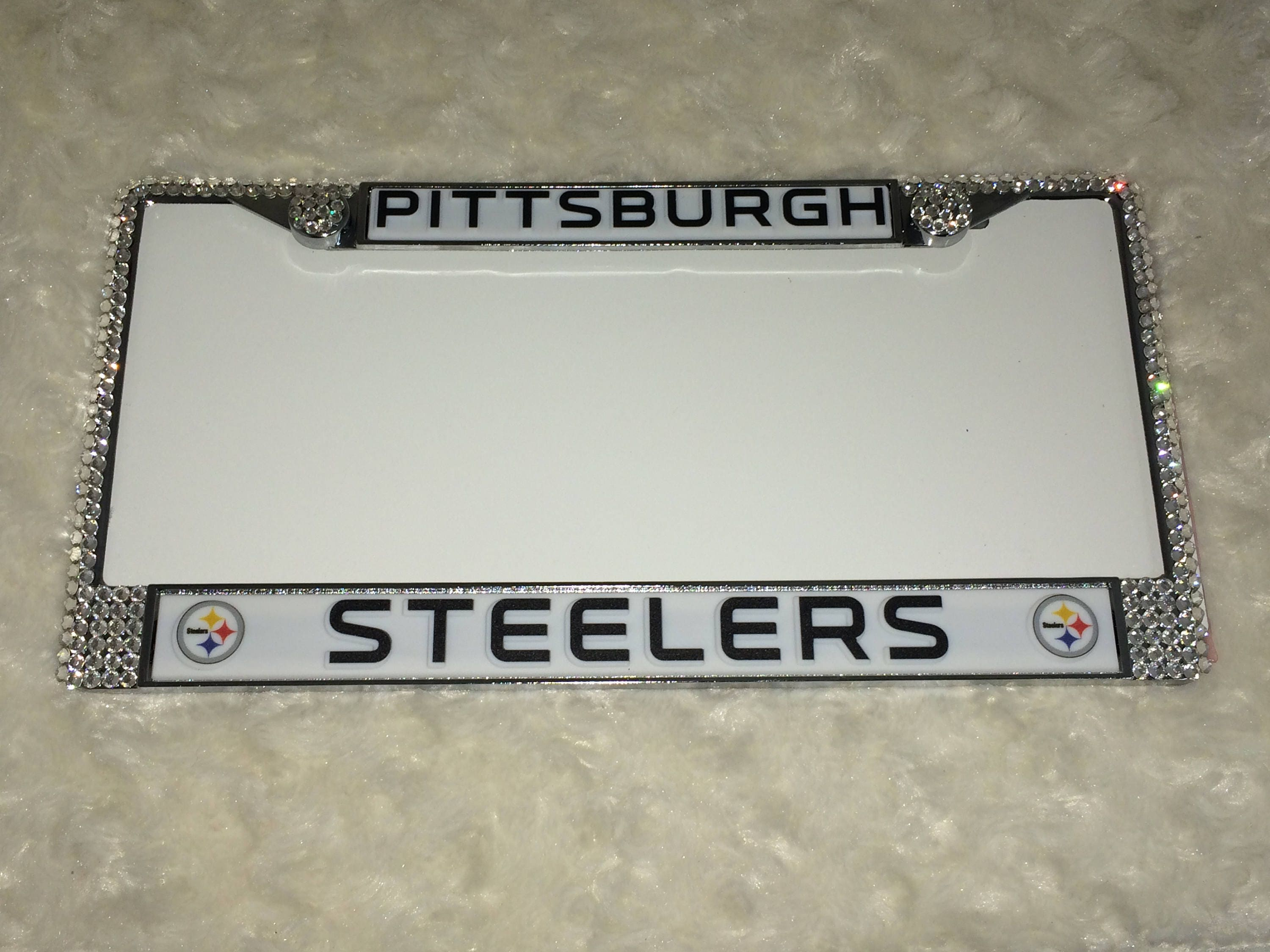 Steelers License Crystal Pittsburgh Sport on Silver Frame Sparkle ...
