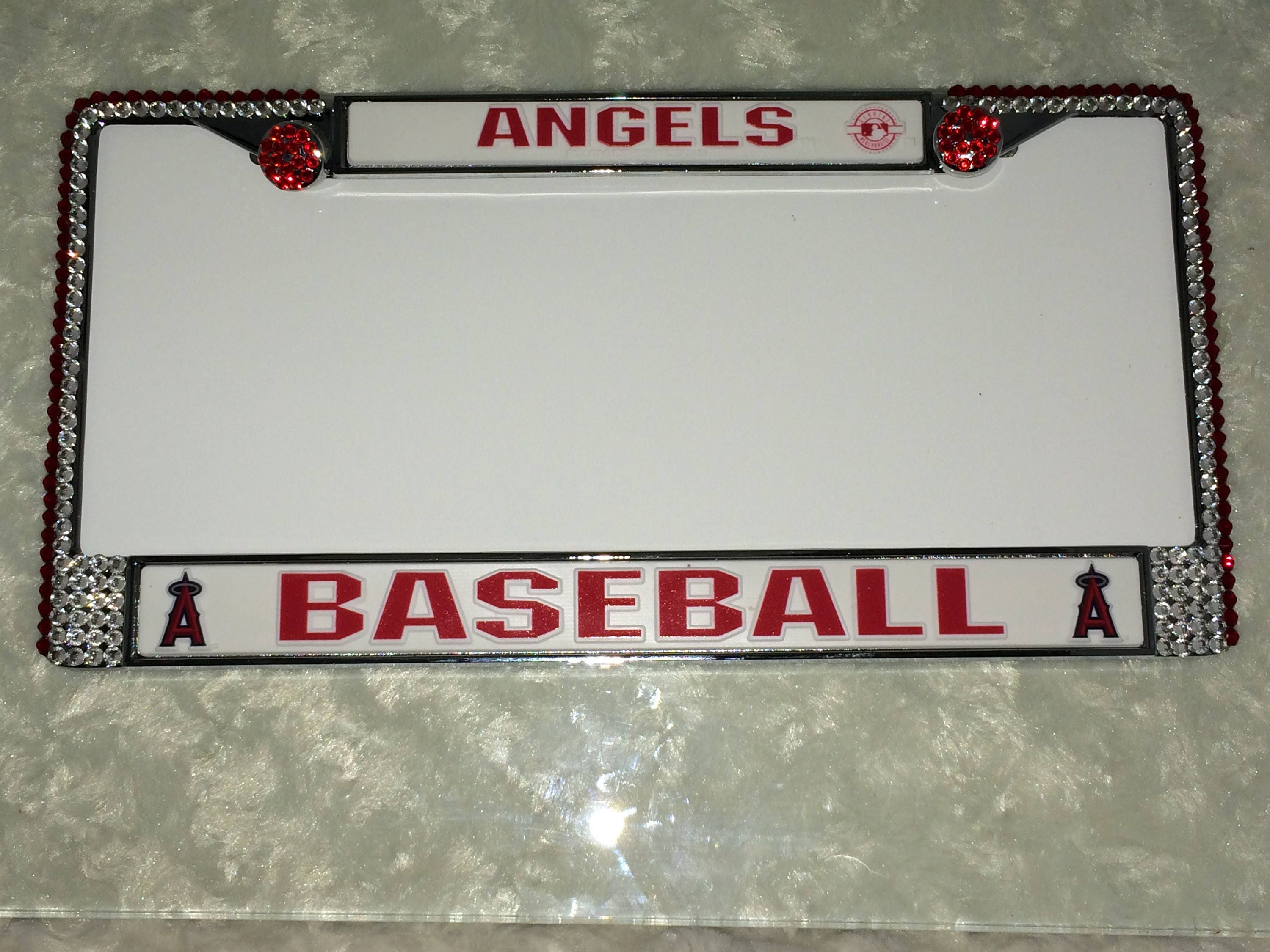 Angels Baseball Sport on Silver Frame Crystal Sparkle Auto Bling ...