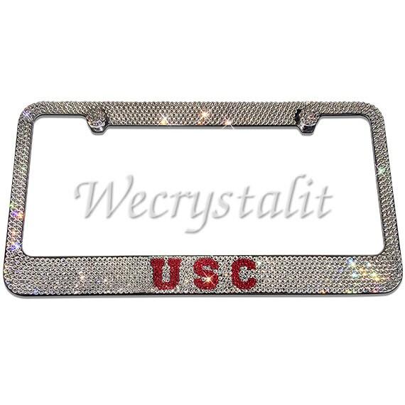 USC Crystal Sparkle Auto Bling Rhinestone License Plate Frame | Etsy